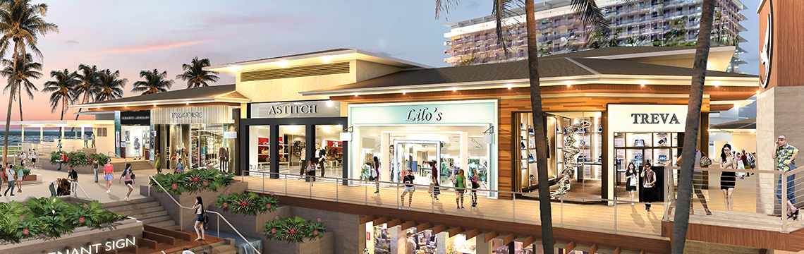 Rendering of renovated Whalers Village - inline stores lit up with shoppers walking through